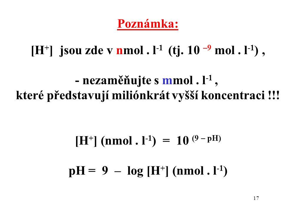 [H+] jsou zde v nmol . l-1 (tj. 10 –9 mol . l-1) ,